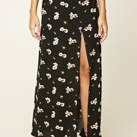 Floral Side-Slit Maxi Skirt