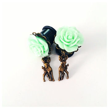 Floral Deer Dangle Plugs - 4g, 2g, 0g, 00g, 7/16, 1/2. 9/16, 5/8, 3/4, 7/8, 1 inch