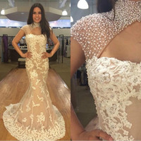 Don's Bridal Sexy Mermaid High Collar Evening Dress Beadings Latest Lace Applique Formal Occasion Dresses