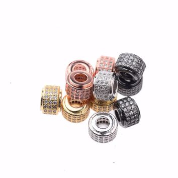 10PCS Copper Micro Inlaid Zircon Round Hollow Beads Connectors Handmade For Bracelet Necklace DIY Gift Jewelry Accessories
