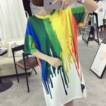 Banerdanni New brand Fashion multicolor Women's T-Shirt Tie dye print lady shirt Loose Half sleeves Tops Casual feminine t-shirt