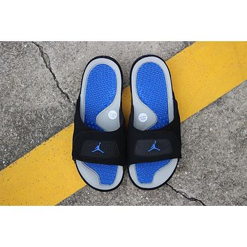 Air Jordan Hydro 4 Slippers Black Gray Blue Slides Sandals