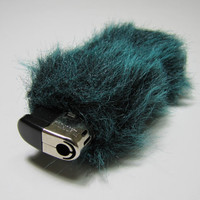 Fluffy Cute Faux Fur Bic Cigarette Lighter Case Green by Kerenika