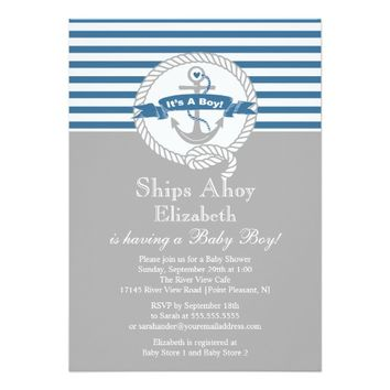 Modern Anchor Nautical Sailboat Boy Baby Shower