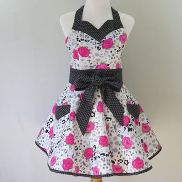 Womens Pink and Black Floral Retro Apron, Grey, Gray, Full Retro Circle Skirt, Bridal Shower, Birthday, Mothers Day Gift for Her