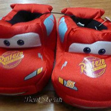 Licensed cool DISNEY Pixar CARS SLIPPERS Lightning McQueen RED Race CAR slick fabric 5/6 NWT