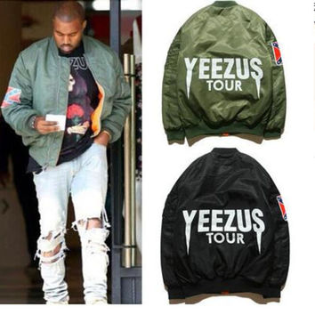 Bomber jackets cotton-padded jacket coat female air force couples Green YEEZUS