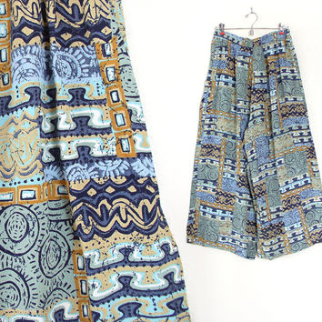 Vintage 90s Abstract Print Rayon Palazzo Pants - Size 10 Medium - Beachy Blue Green Gold Women's High Waist Wide Legged Trousers