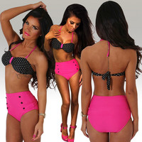 Black and Pink Polka Dot Print Halter High Waist Bikini