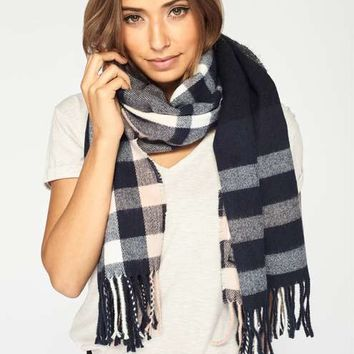 Navy Check Scarf - View All - Accessories