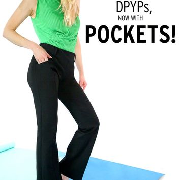 Boot-Cut | Two-Pocket Dress Pant Yoga Pants (Black)
