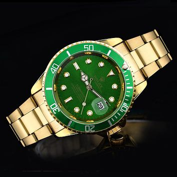 Rolex tide brand fashion men and women fashion watches F-SBHY-WSL Gold + Green Case + Green Dial