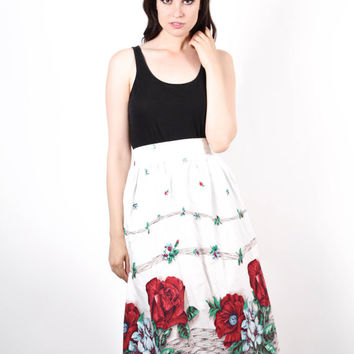Vintage 1950s Cotton Red Rose Skirt  - 50s Cotton Skirts  - Red Rose Skirt  - The By Any Other Name Skirt - 6505