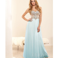 Terani p3164 Sky Blue Chiffon & Crystal Strapless Basque Prom Gown 2015 Prom Dresses
