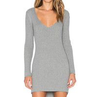KNITZ by For Love & Lemons Everyday Knit V-Neck Dress in Grey