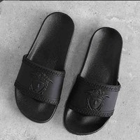 """Hot Sale """"Versace"""" Trending Summer Women Men Home Beach Personality Prevent Slippery Wear-Resisting Thick Sole Sandals Slippers Shoe Black"""