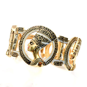 Damascene Nefertiti Panel Bracelet, Egyptian Revival, Nefertiti Profile, Black White Enamel, Intricate Design, Vintage Statement Bracelet