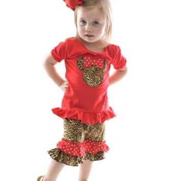 Minnie Mouse Leopard short 3pc set