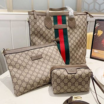 GUCCI Fashion New More Letter Leather Shopping Leisure Shoulder Bag Crossbody Bag Handbag Wallet Three Piece Suit