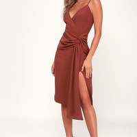 Inspiration Washed Burgundy Knot Front Midi Dress