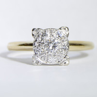 Vintage Diamond Cluster Illusion Set Engagement Ring in 14K Yellow Gold Size 7.75