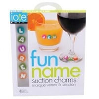 MSC 26737 Joie Fun Name Suction Drink and Wine Charm Set, 48-Piece