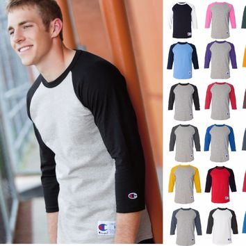 Champion Mens ¾ sleeve Raglan Baseball Jersey Shirt-18 colors Small-3XL T137 137