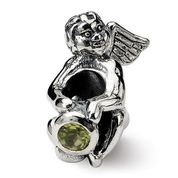 Sterling Silver August CZ Birthstone, Angel Bead Charm