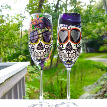 Hand Painted Sugar Skull Bride and Groom Toasting Flutes