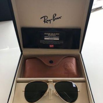 Ray-Ban 18K Solid Gold Aviator Sunglasses - # 315 of only 1,200 Made BRAND NEW