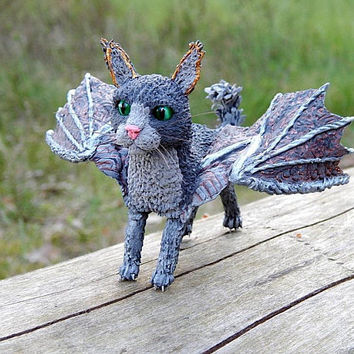 Cat with wings figurine sculpture, Fantasy Animal Creature, cat dragon totem fantasy handmade of clay, Winged cat dragon spirit animals
