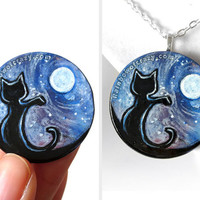 Black Cat Pet Painting, Wood Pendant, Full Moon Necklace, Starry Night, Pet Owner Keepsake Gift for Her, Animal Jewelry, Hand Painted