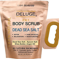 DEAD SEA SALT BODY SCRUB 100% NATURAL AND ORGANIC- MADE WITH DEAD SEA SALT, EPSOM SALT, SHEA AND COCONUT OIL. + VITAMIN E. ***DETOX- SORE MUSCLES-RELAXATION- STRESS RELIEF- DRY SKIN- MOISTURIZING. PARABEN AND ALCOHOL FREE. NET WEIGHT 10 OZ