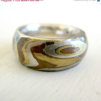 ON SALE 15% OFF Men's Ring - Mokume Gane Band - Men's Wedding Band - His and Hers Promise Ring - Organic Jewelry - Fine Jewelry