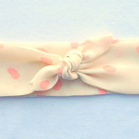 Adjustable Knot Headband // Peach Polka Dot Headband // Cream Headband