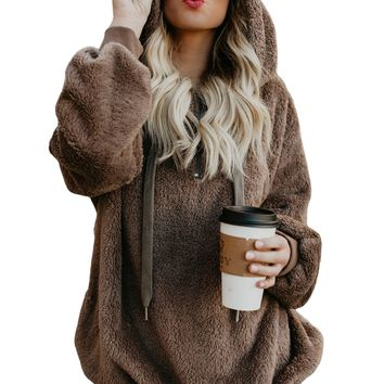 Brown Warm Furry Pullover Hoodie