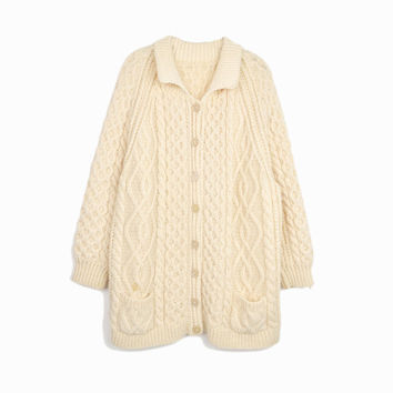 Vintage Cream Cable Knit Cardigan / Fisherman Sweater - women's xl