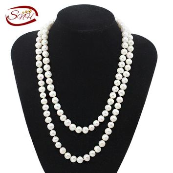 SNH 9-10mm near round AA 105cm Cultured Pearls Necklace Jewelry Women Natural Pearl Necklace With Heart Clasp Customized