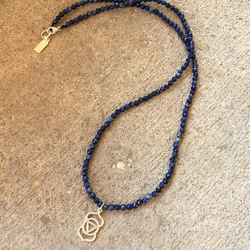 Fine Faceted Lapis Lazuli and Sterling Silver 'Third Eye Chakra' Pendant Necklace