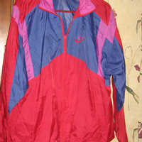 Vintage 80s Retro Nike Windbreaker Jacket - Size Large