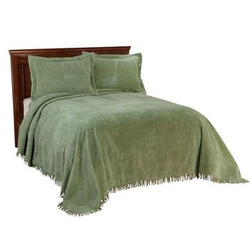 Queen size Sage Green Cotton Chenille Bedspread with Fringe Edge