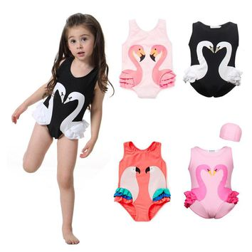 2017 Summer Baby Girls INS One Piece Swimsuit Children Swimwear Cute Print  Bikini  parrot Swan Flamingos Bathing Suit