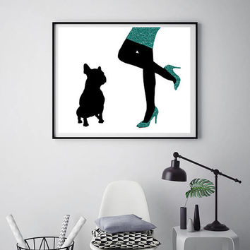 Dog print Woman with french bulldog Dog wall decor Fashion WALL PRINT Glitter skirt Poster Pets gift Fashionable art ArtPrintsByChrista