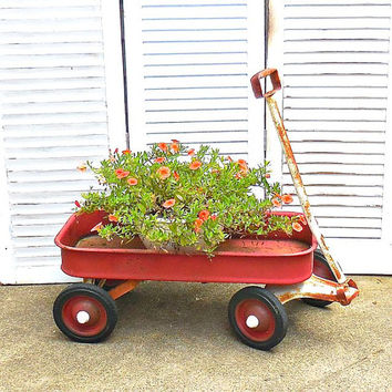 Vintage Little Rusty Red Wagon