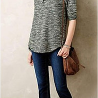 Gray Knitted Sweater Shirt