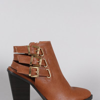 Wild Diva Lounge Buckled Strap Chunky Heeled Ankle Boots