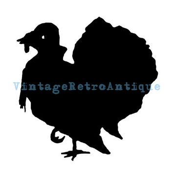 Turkey Silhouette Printable Digital Download Thanksgiving Graphic Image Vintage Clip Art Jpg Png Eps 18x18 HQ 300dpi No.3231