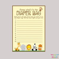 Safari Baby Shower Diaper Bag Game - Guess What's in the Diaper Bag Game - Printable Instant Download - Safari Baby Shower Game - BS0001-N