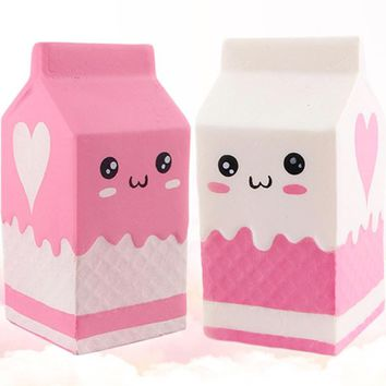 Squishy milk bottle/can/box Squeeze Soft Slow Rising Phone Key Chain Strap Pendant Roll Squishes PU Cute Anti-stress toys ZJD