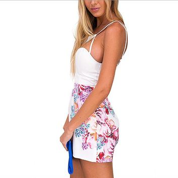 Floral Print Sexy Cut Out Spaghetti Strap Backless Jumpsuit